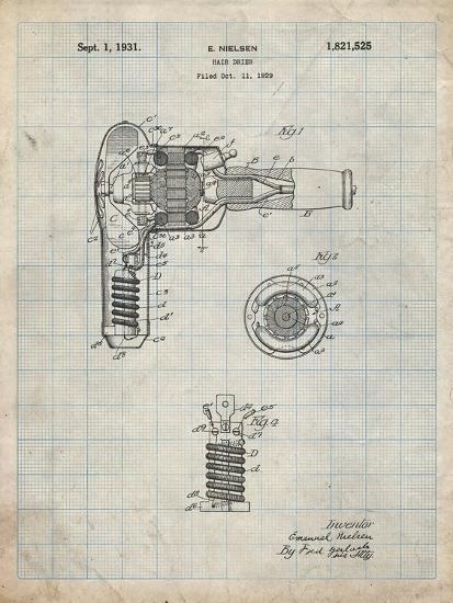 PP265-Antique Grid Parchment Vintage Hair Dryer Patent Poster-Cole Borders-Giclee Print