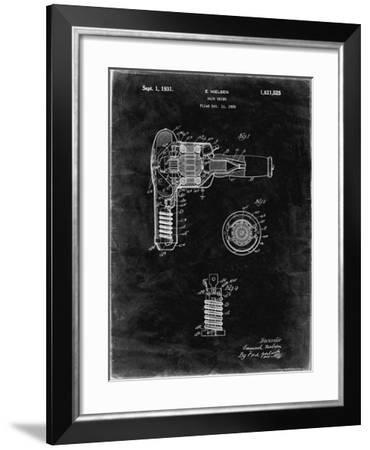 PP265-Black Grunge Vintage Hair Dryer Patent Poster-Cole Borders-Framed Giclee Print