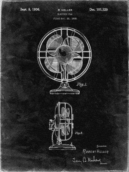 PP266-Black Grunge Table Fan Patent Poster-Cole Borders-Giclee Print