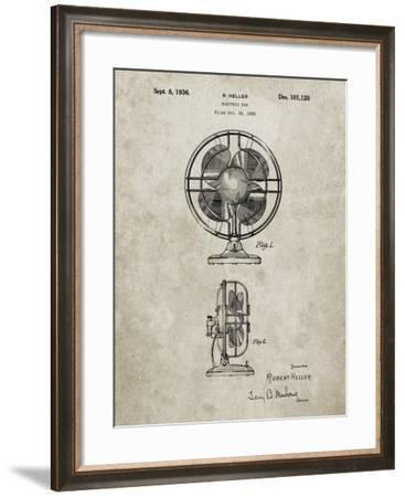 PP266-Sandstone Table Fan Patent Poster-Cole Borders-Framed Giclee Print