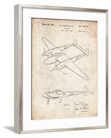 PP277-Vintage Parchment Lockheed P-38 Lightning Patent Poster-Cole Borders-Framed Giclee Print