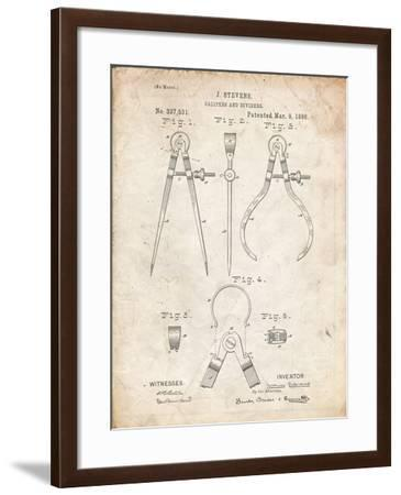 PP285-Vintage Parchment Calipers and Dividers Patent Poster-Cole Borders-Framed Giclee Print