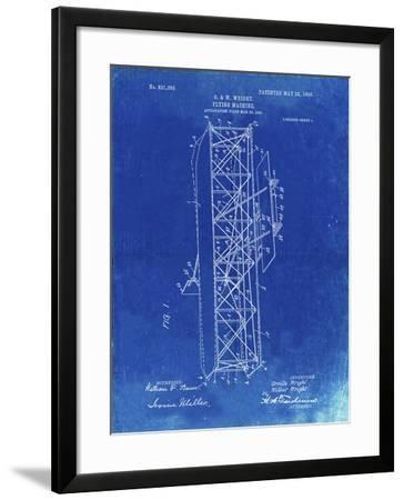 PP288-Faded Blueprint Wright Brothers Flying Machine Patent Poster-Cole Borders-Framed Giclee Print