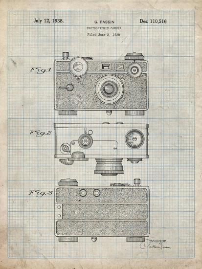 PP299-Antique Grid Parchment Argus C Camera Patent Poster-Cole Borders-Giclee Print