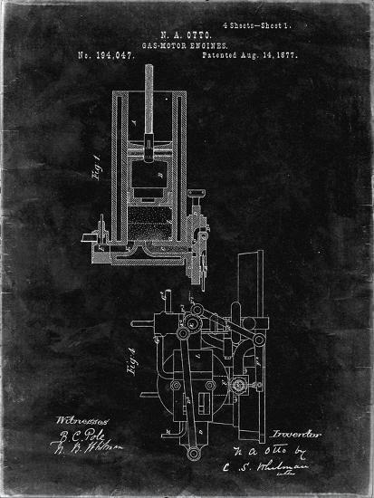 PP304-Black Grunge Combustible 4 Cycle Engine Otto 1877 Patent Poster-Cole Borders-Giclee Print