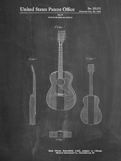 Pp306 Chalkboard Buck Owens American Guitar Patent Poster Giclee