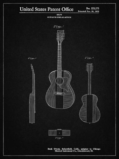 PP306-Vintage Black Buck Owens American Guitar Patent Poster-Cole Borders-Giclee Print