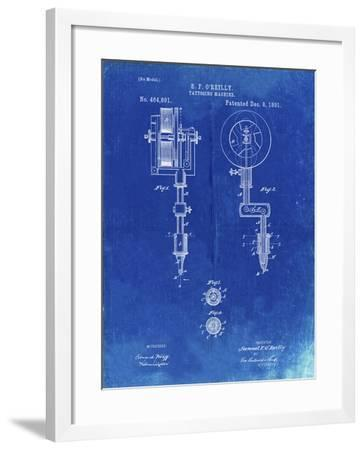 PP308-Faded Blueprint Tattooing Machine Patent Poster-Cole Borders-Framed Giclee Print