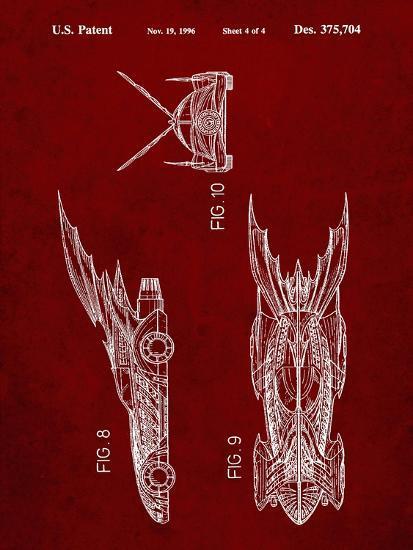 PP311-Burgundy Batman and Robin Batmobile Patent Poster-Cole Borders-Giclee Print