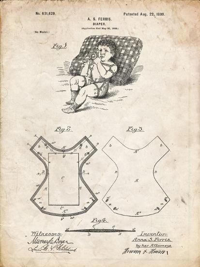 PP317-Vintage Parchment Cloth Baby Diaper Patent Poster-Cole Borders-Giclee Print