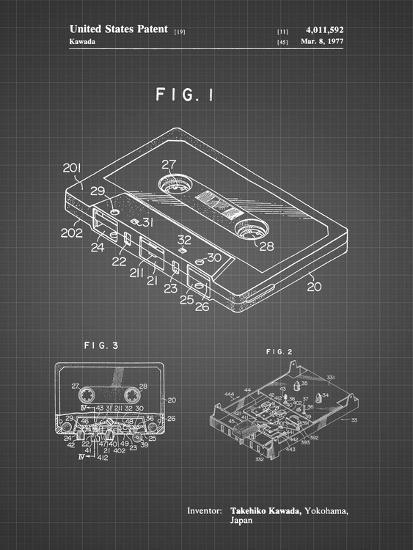 PP319-Black Grid Cassette Tape Patent Poster-Cole Borders-Giclee Print