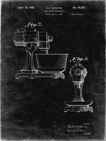 PP337-Black Grunge KitchenAid Mixer Patent Poster-Cole Borders-Giclee Print