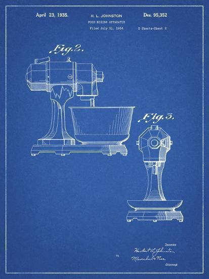 PP337-Blueprint KitchenAid Mixer Patent Poster-Cole Borders-Giclee Print