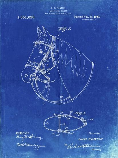 PP338-Faded Blueprint Bridle and Halter Patent Poster-Cole Borders-Giclee Print