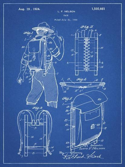 PP342-Blueprint Trapper Nelson Backpack 1924 Patent Poster-Cole Borders-Giclee Print