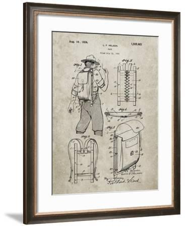 PP342-Sandstone Trapper Nelson Backpack 1924 Patent Poster-Cole Borders-Framed Giclee Print
