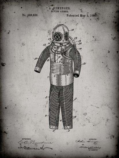 PP343-Faded Grey Hemenger Diving Armor Poster-Cole Borders-Giclee Print