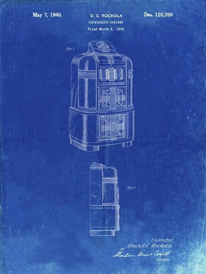 PP347-Faded Blueprint Jukebox Patent Poster-Cole Borders-Giclee Print