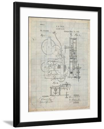 PP349-Antique Grid Parchment Vintage Alarm Clock Patent Poster-Cole Borders-Framed Giclee Print
