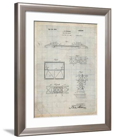PP350-Antique Grid Parchment Golden Gate Bridge Patent Poster-Cole Borders-Framed Giclee Print