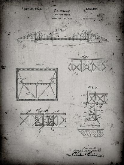 PP350-Faded Grey Golden Gate Bridge Patent Poster-Cole Borders-Giclee Print
