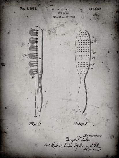 PP352-Faded Grey Wooden Hair Brush 1933 Patent Poster-Cole Borders-Giclee Print