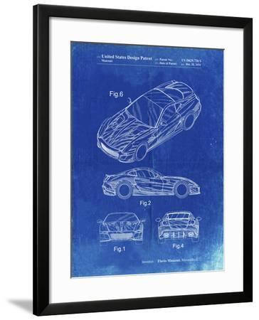 PP355-Faded Blueprint Exotic sports car Patent Poster-Cole Borders-Framed Giclee Print