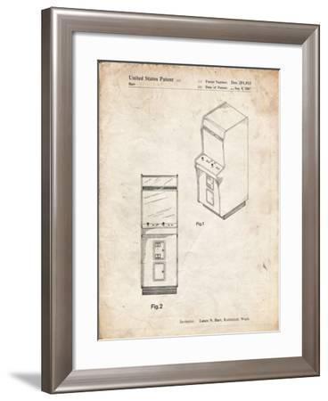PP357-Vintage Parchment Arcade Game Cabinet Front Figure Patent Poster-Cole Borders-Framed Giclee Print