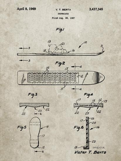 PP358-Sandstone Berta Magnetic Boot Snowboard Patent Poster-Cole Borders-Giclee Print