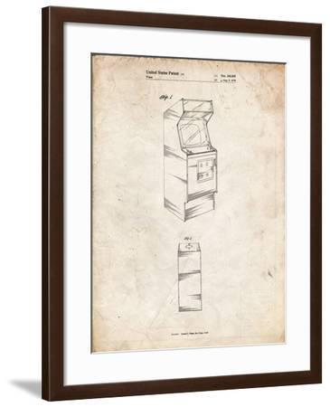PP362-Vintage Parchment Arcade Game Cabinet Patent Poster-Cole Borders-Framed Giclee Print