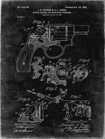 PP375-Black Grunge Smith and Wesson Hammerless Pistol 1898 Patent Poster-Cole Borders-Giclee Print