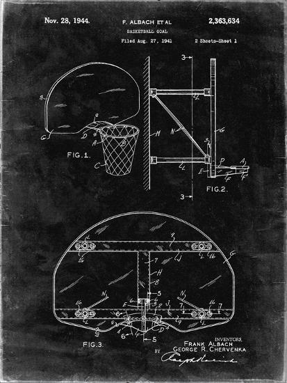 PP381-Black Grunge Basketball Goal Patent Print-Cole Borders-Giclee Print