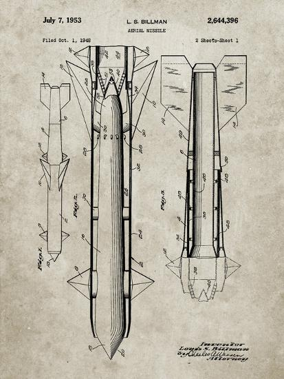 PP384-Sandstone Aerial Missile Patent Poster-Cole Borders-Giclee Print