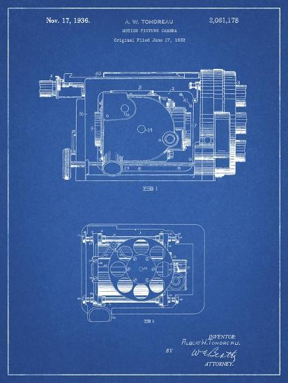 PP390-Blueprint Motion Picture Camera 1932 Patent Poster-Cole Borders-Giclee Print