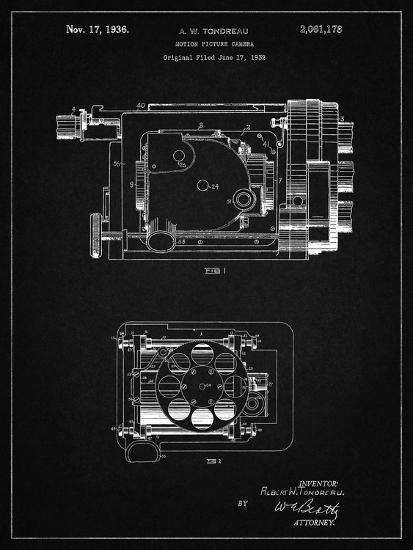 PP390-Vintage Black Motion Picture Camera 1932 Patent Poster-Cole Borders-Giclee Print