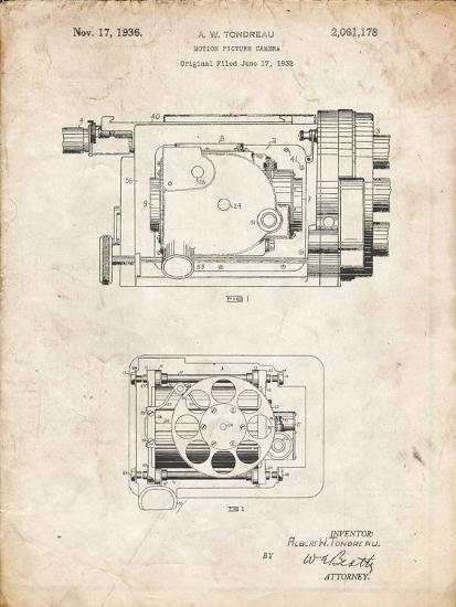 PP390-Vintage Parchment Motion Picture Camera 1932 Patent Poster-Cole Borders-Giclee Print
