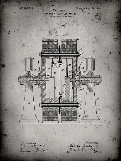 PP423-Faded Grey Tesla Electric Circuit Controller Poster-Cole Borders-Giclee Print