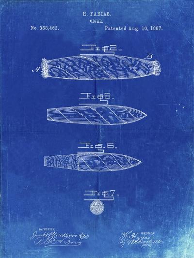 PP43 Faded Blueprint-Borders Cole-Giclee Print