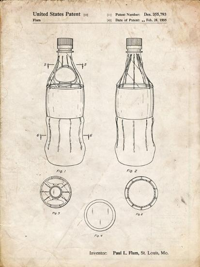 PP432-Vintage Parchment Coke Bottle Display Cooler Patent Poster-Cole Borders-Giclee Print