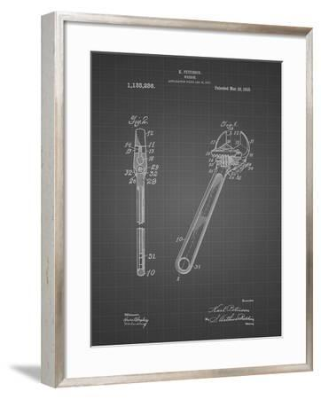 PP437-Black Grid Crecent Wrench 1915 Patent Poster-Cole Borders-Framed Giclee Print