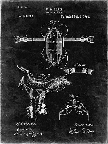 PP444-Black Grunge Horse Saddle Patent Poster-Cole Borders-Giclee Print