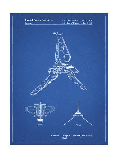 PP449-Blueprint Star Wars Lambda Class T-4a Shuttle Patent Poster-Cole Borders-Giclee Print