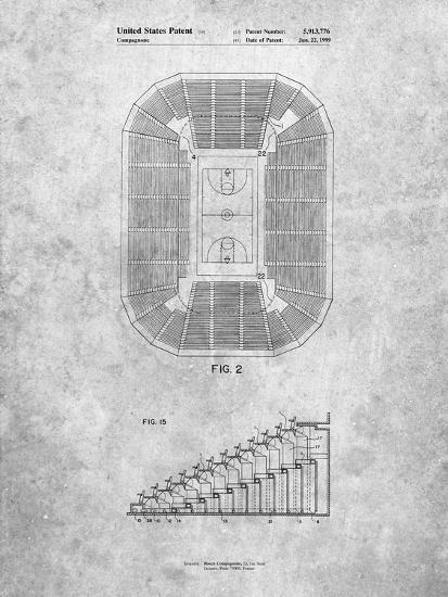 PP453-Slate Retractable Arena Seating Patent Poster-Cole Borders-Giclee Print