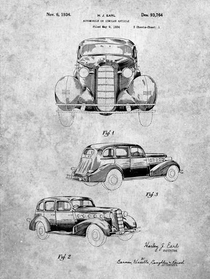 PP471-Slate 1934 Buick Automobile Patent Poster-Cole Borders-Giclee Print