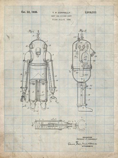 PP479-Antique Grid Parchment Deep Sea Diving Suit Patent Poster-Cole Borders-Giclee Print