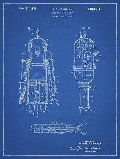 PP479-Blueprint Deep Sea Diving Suit Patent Poster-Cole Borders-Giclee Print