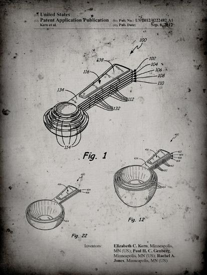 PP484-Faded Grey Stacking Measuring Cups Patent Poster-Cole Borders-Giclee Print