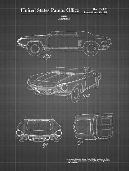 PP489-Black Grid 1962 Chevrolet Covair Super Spyder Concept Patent Print-Cole Borders-Giclee Print