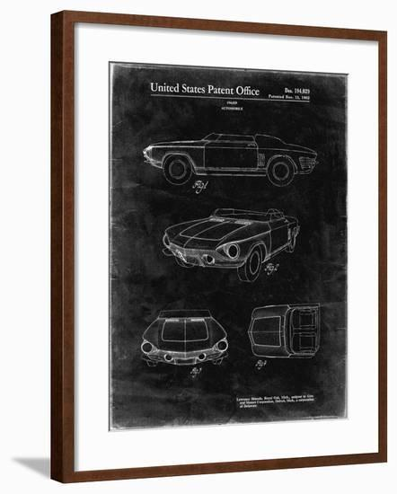 PP489-Black Grunge 1962 Chevrolet Covair Super Spyder Concept Patent Print-Cole Borders-Framed Giclee Print
