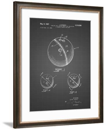 PP493-Black Grid Bowling Ball 1967 Patent Poster-Cole Borders-Framed Giclee Print